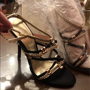 BEBE BLACK GOLD STRAPY HIGH HEEL SHOES STILETTOS